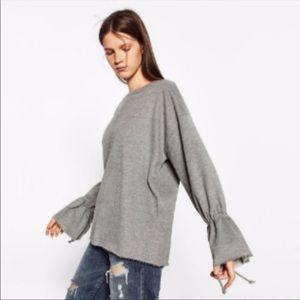 Zara Gray Tie Sleeve Sweatshirt